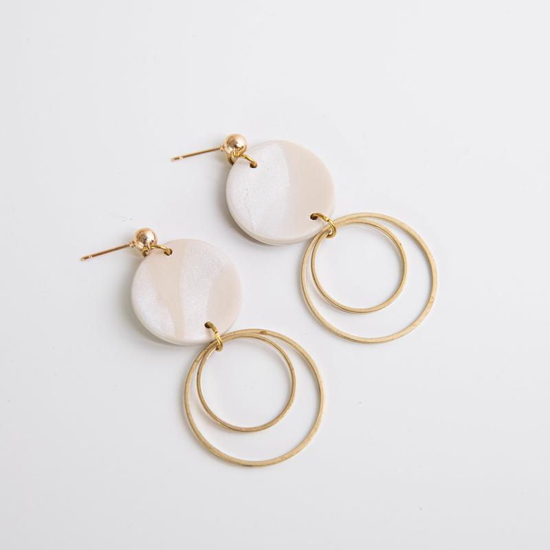 Pepper You Full Circle Trio Earrings in Warm Oat Marble