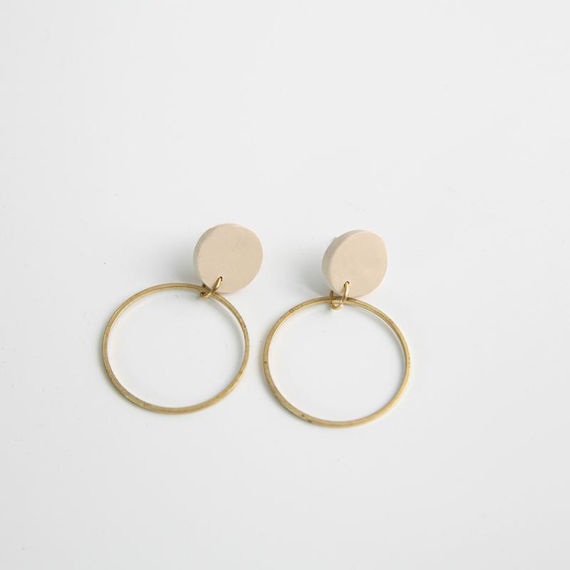 Pepper You Hollow Circle Hoop Earrings in Oat