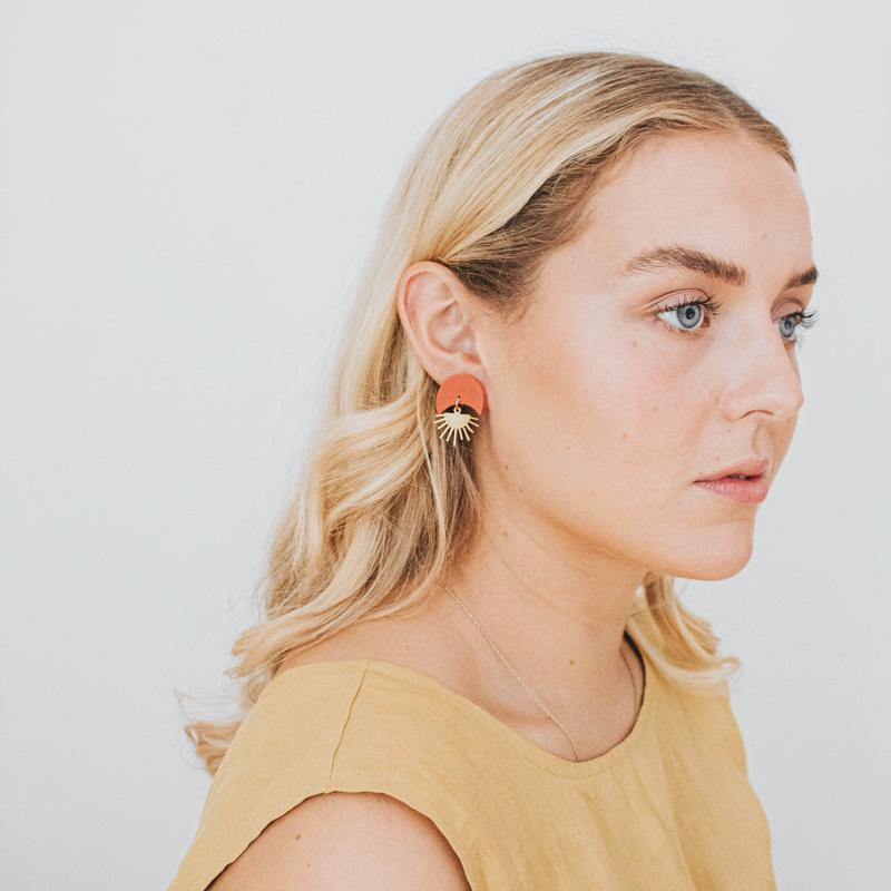Pepper You Sunset II Earrings in Mustard