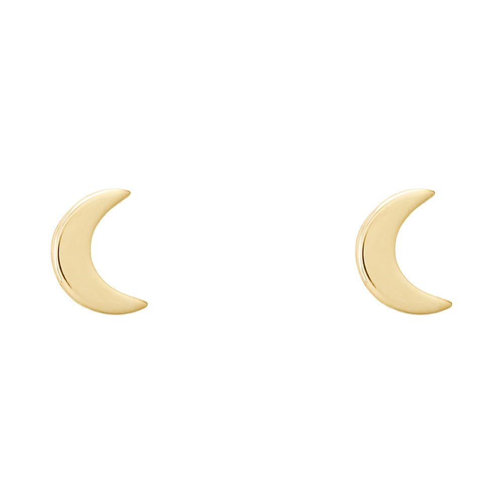 Tada & Toy Tiny Moon Studs in Gold