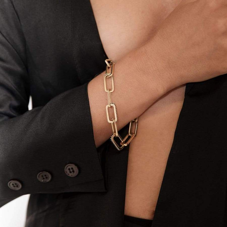 F + H Jewellery Dylan Link Bracelet in Gold