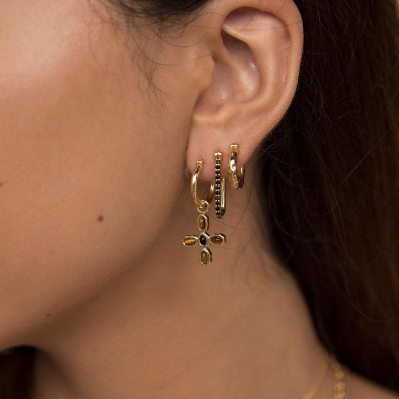 F + H Jewellery Dylan Link Earrings in Gold
