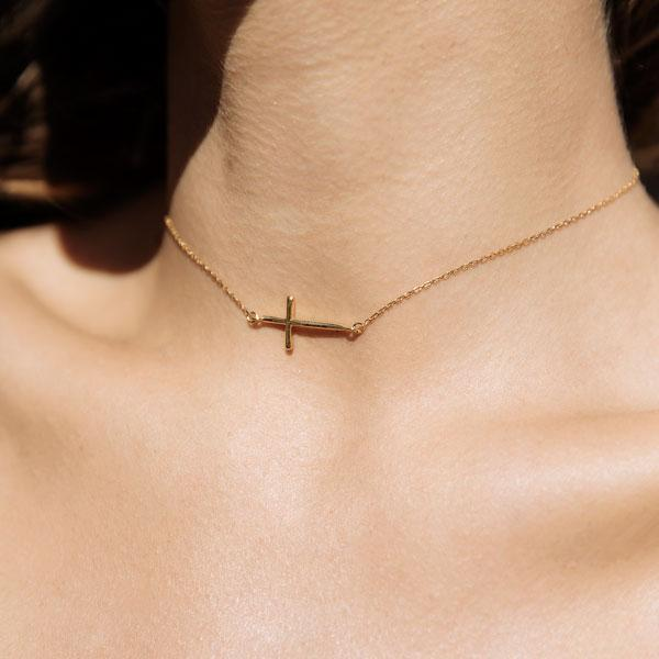 F + H Jewellery Soft Parade Fine Cross Choker in Gold