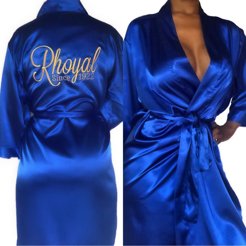 Rhoyal Since 1922 Embroidered Satin Robe