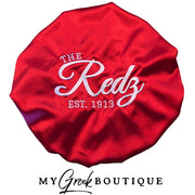 The Redz Embroidered Satin Hair Bonnet