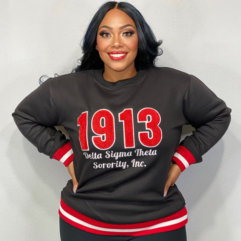 Striped 1913 DST Chenille Embroidered Sweatshirt