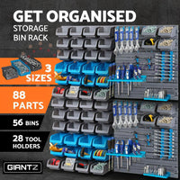 Giantz 88 Parts Wall-Mounted Storage Bin Rack