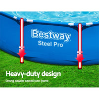 Bestway Swimming Pool Above Ground Pools Filter Pump 3.66M Power Steel Frame