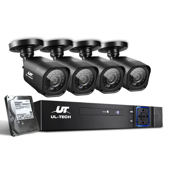 UL-Tech CCTV Security System 2TB 4CH DVR 1080P 4 Camera Sets