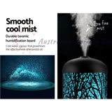 DEVANTI Aroma Diffuser Aromatherapy LED Night Light Iron Air Humidifier Black Forrest Pattern 160ml