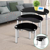 Artiss Set Of 3 Glass Coffee Tables - Black