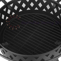 Grillz 32 Inch Portable Outdoor Fire Pit and BBQ - Black | Australian Variety Store