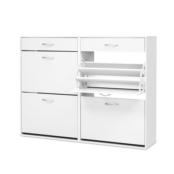 Artiss 36 Pairs Shoe Cabinet Rack Organisers Storage Shelf Drawer Cupboard White
