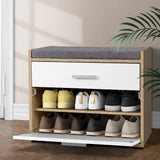 Artiss Shoe Cabinet Bench Shoes Storage Organiser Rack Fabric Seat Wooden Cupboard Up to 8 pairs