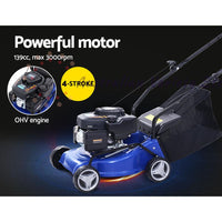 "Lawn Mower 17"" Petrol Powered Hand Push Engine Lawnmower Catch 4Stroke"