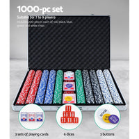 Poker Chip Set 1000PC Chips TEXAS HOLD'EM Casino Gambling Dice Cards