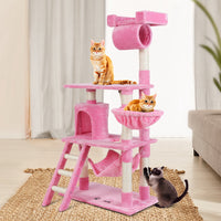 i.Pet Cat Tree Trees Scratching Post Scratcher Tower Condo House Furniture Wood Pink 141cm