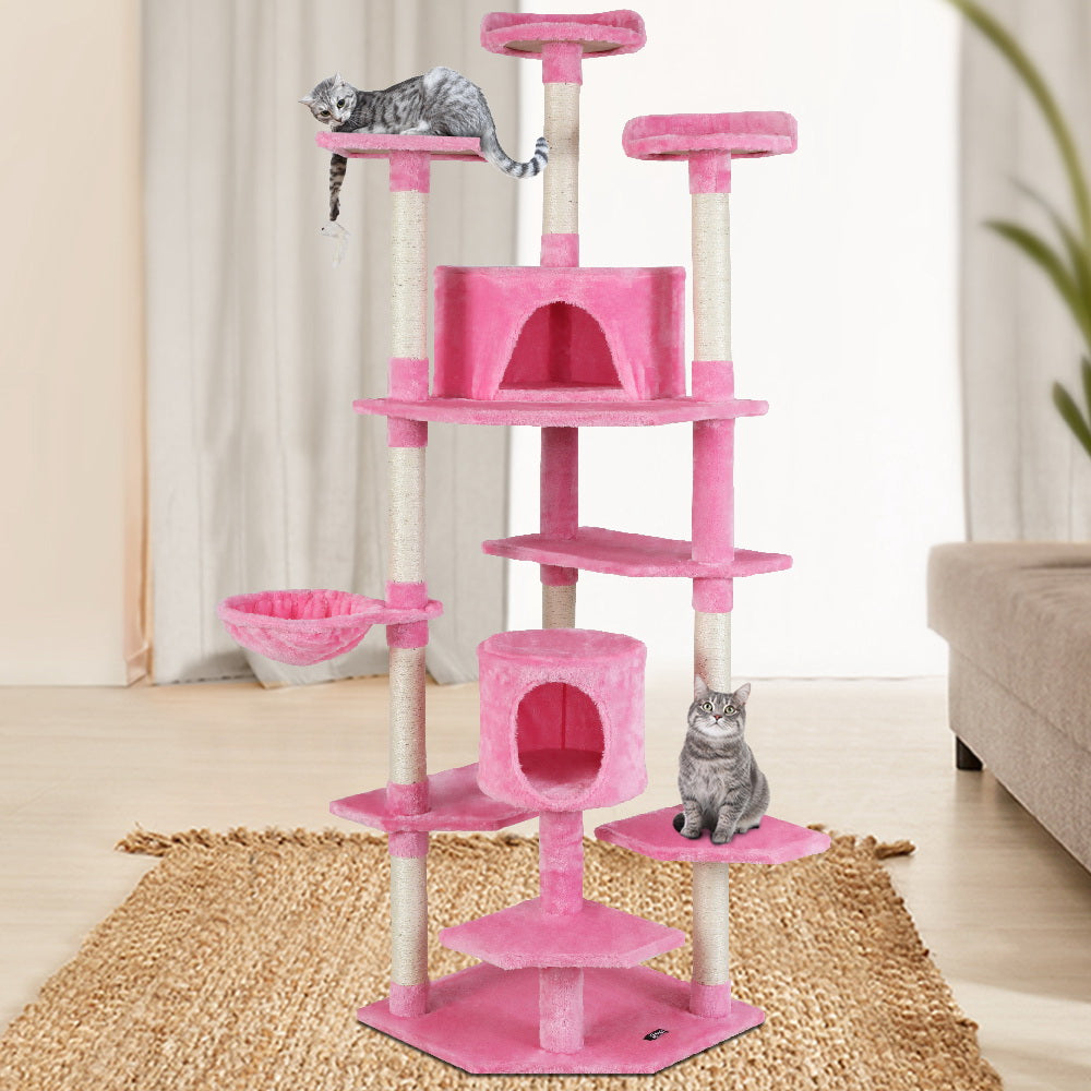 i.Pet Cat Tree Trees Scratching Post Scratcher Tower Condo House Furniture Wood Pink 203cm