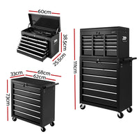 Giantz 15 Drawers Tool Box Chest Trolley Cabinet Black