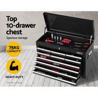 Giantz Tool Box Chest Trolley 16 Drawers Cabinet  Black
