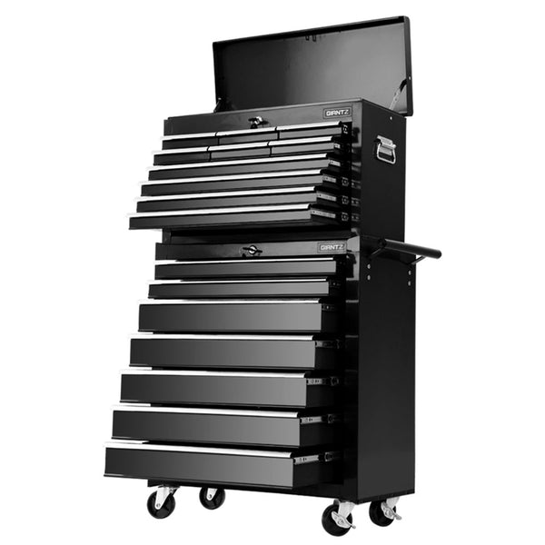 Giantz 17 Drawers  Trolley Chest Cabinet  Mechanic Toolbox Black