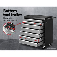 Giantz 17 Drawers  Trolley Chest Cabinet  Mechanic Toolbox Black and Grey