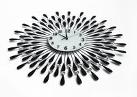 Large Modern 3D Crystal Wall Clock Luxury Art Metal Round Home Decor