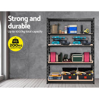 1.2M Warehouse Racking Shelving Storage Shelf Garage Shelves Rack Steel Black