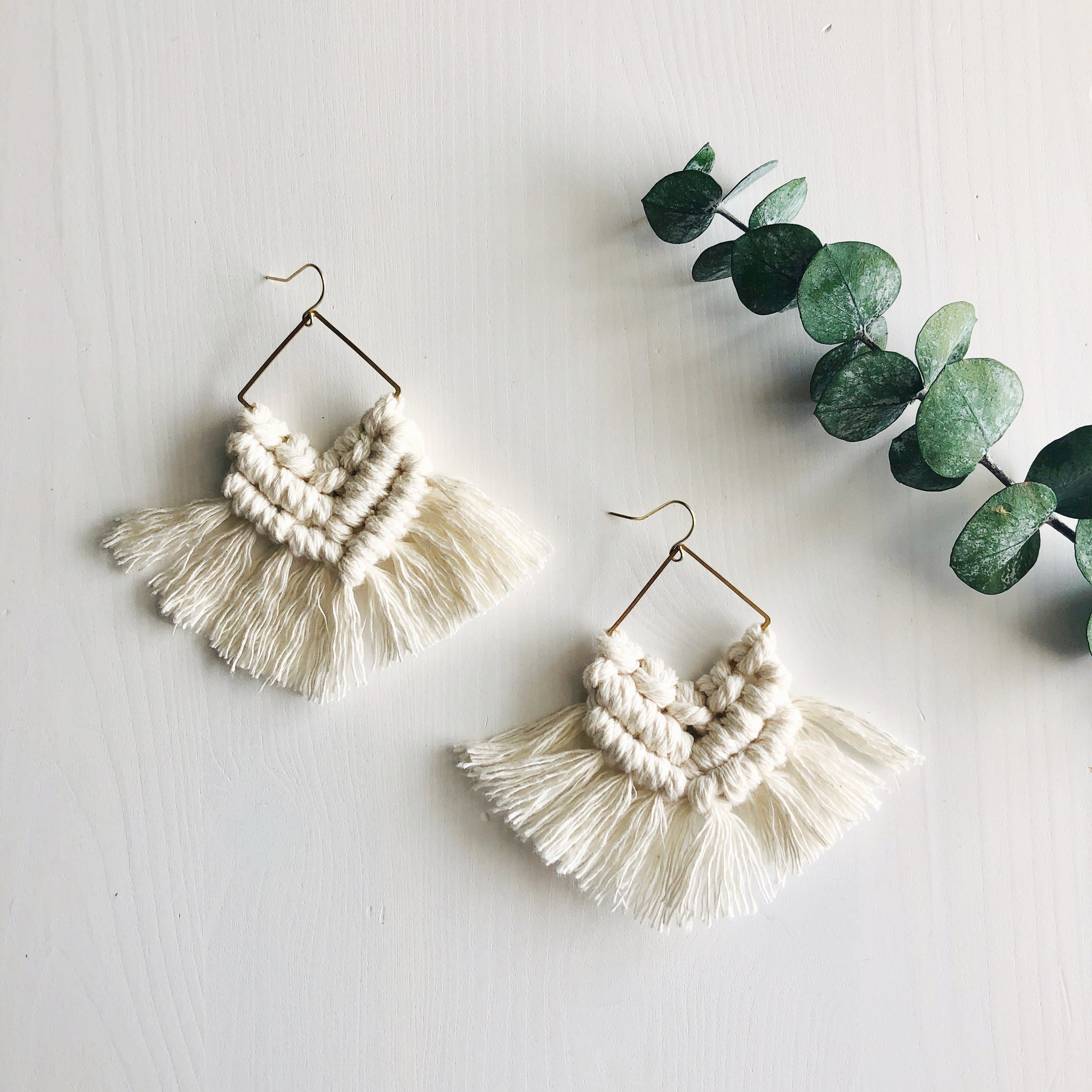 Love + Light | Macrame Diamond Fringe Earrings