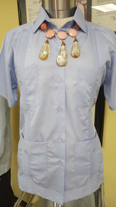 Women - Cotton Guayabera - Short Sleeve