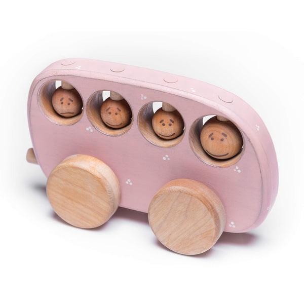 Pink wooden bus toy with four wooden passengers.