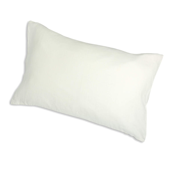 White linen pillow case on the pillow.