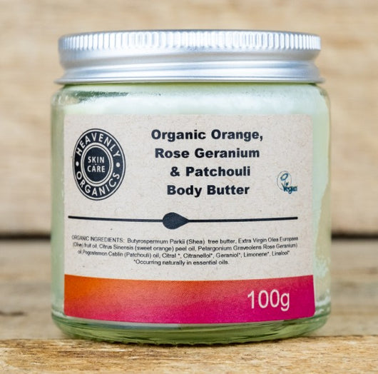 Heavenly Organic - Organic Body Butter Orange, Rosengeranie & Patchouli