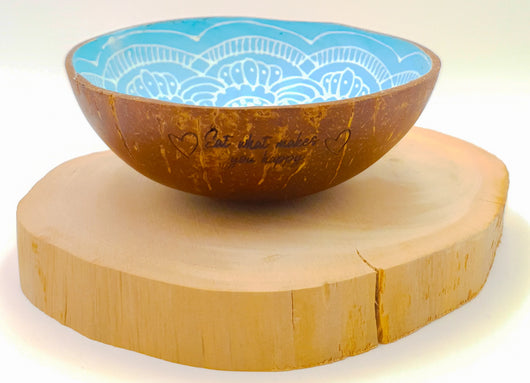 Boho up your life Coconut Bowl türkis Gravur Draufsicht
