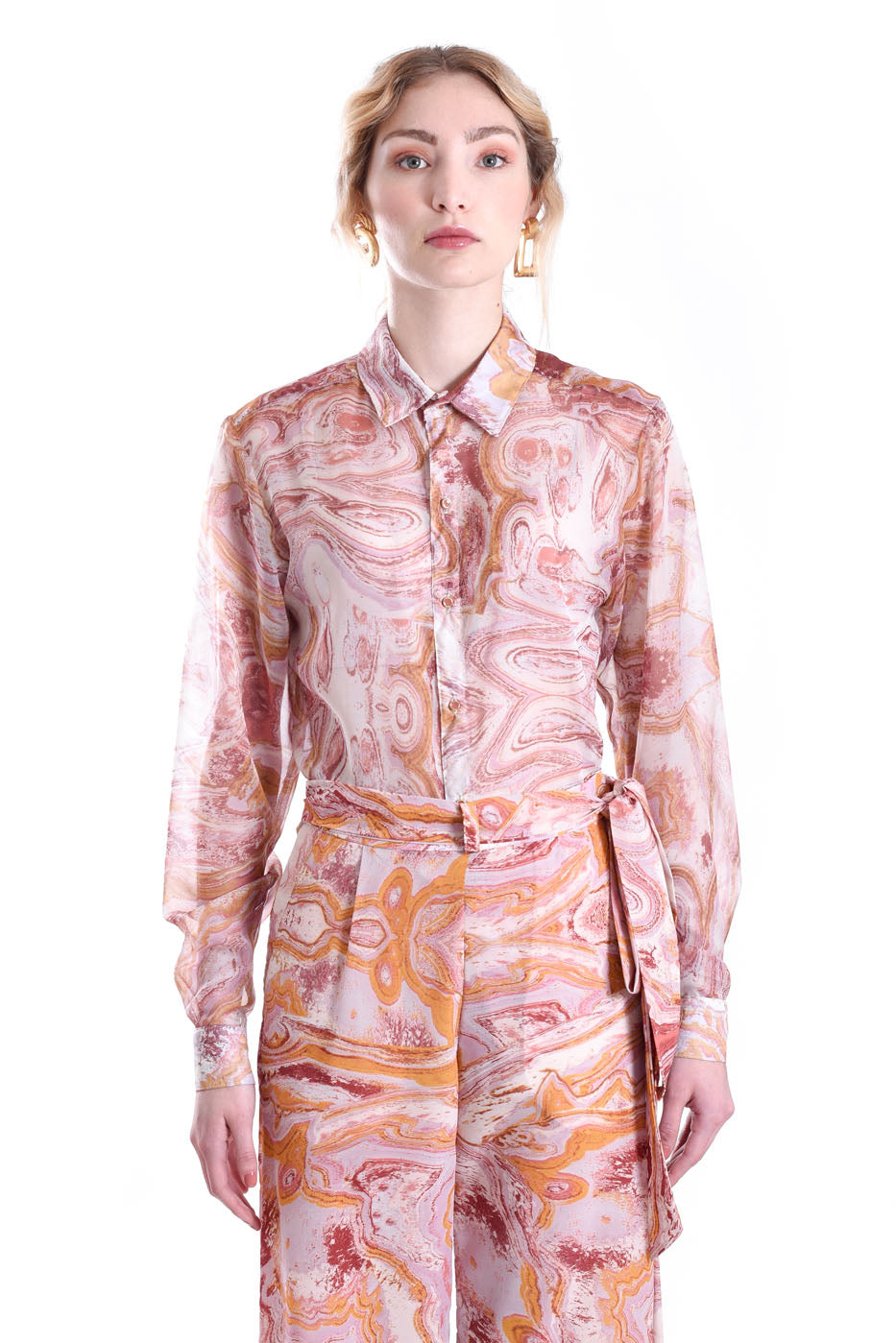 ROSE MARBLE LONG SLEEVE SHIRT