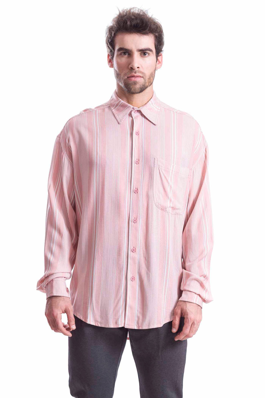 EARTHY PINK STRIPES SHIRT