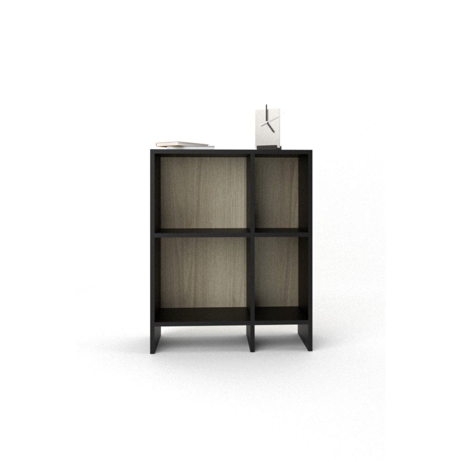 matt black and oak bookcase