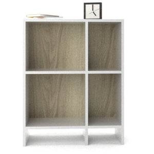 white & oak bookcase