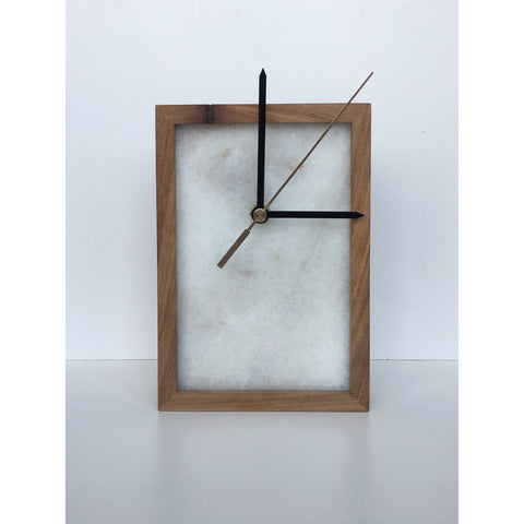 marble clock in kiaat frame