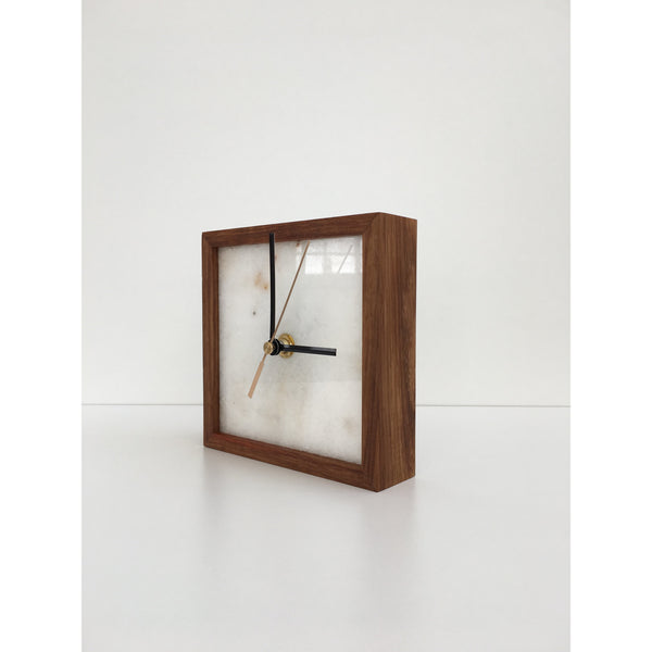 square marble clock in kiaat frame