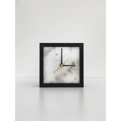 square marble clock in black frame