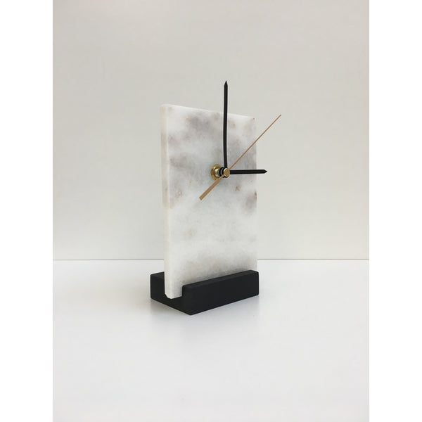 rectangle marble clock on black oak stand angled view