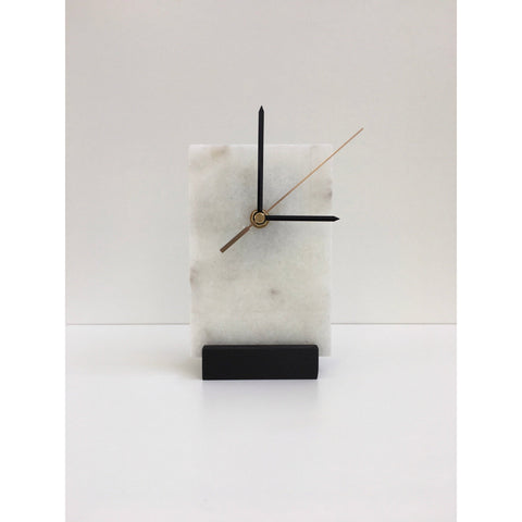 rectangle marble clock on black oak stand