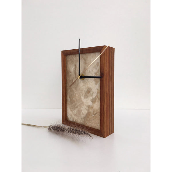 travertine clock kiaat frame