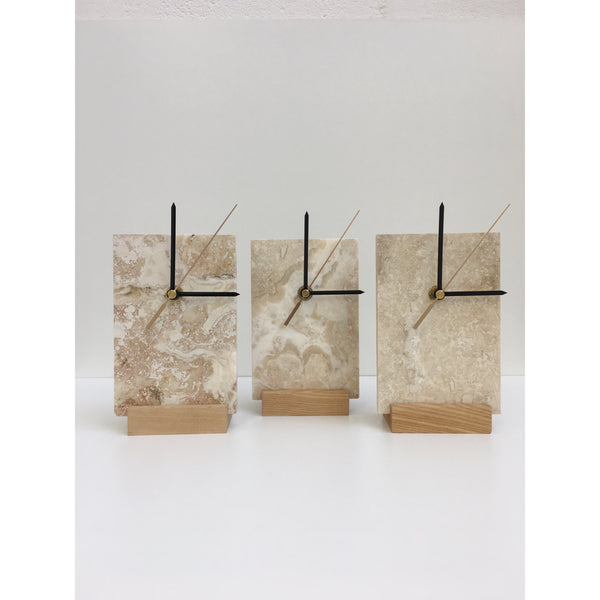travertine clock on oak stand