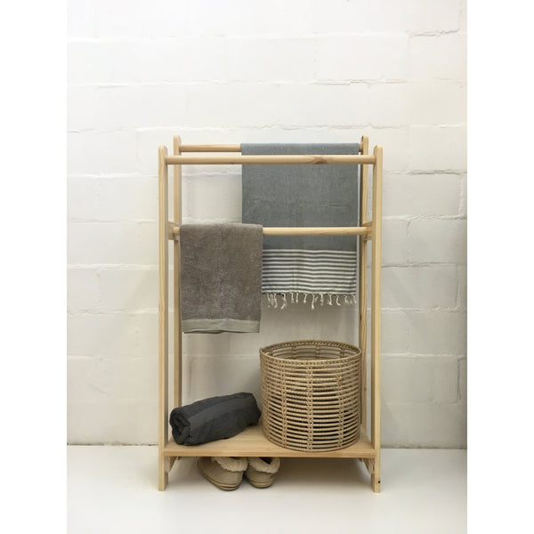 towel rail with laundry shelf