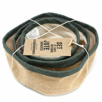 Eco Friendly Storage - Set of 3 Natural Jute Baskets - Choice of 4 Colours