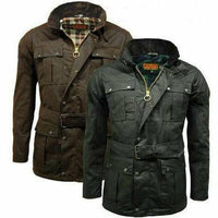 Game - Continental - Mens Belted Motorcyle Wax Cotton Jacket - Black or Brown