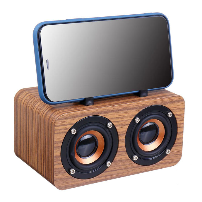 Wooden Wireless Portable Speaker Desktop bluetooth Speakers Subwoofer Stereo Bass Speaker Support TF MP3 Player Phone Holder