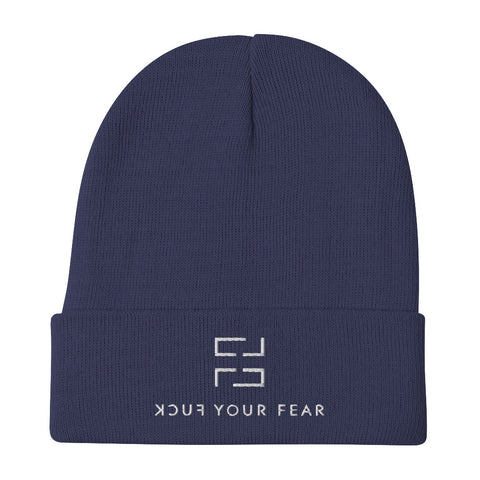 Cover Your (F)ear Beanie - Navy Edition - Fuck Your Fear